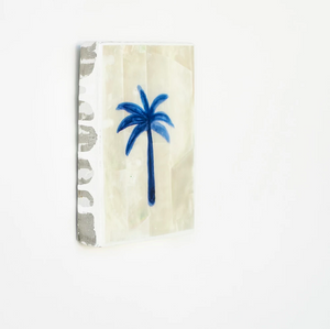 AHOY - Mini Tile, Mother of Pearl Blue Palm