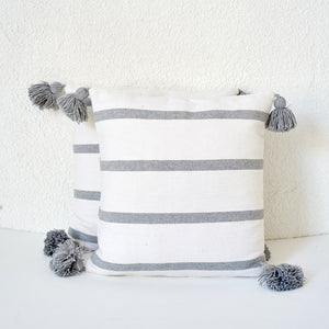 Cinnamon Stripe Cushion, Grey and White