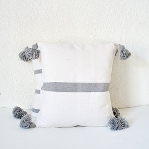 Cinnamon Stripe Cushion, Grey and White / وسادة