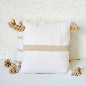 Cinnamon Stripe Cushion, Natural and White
