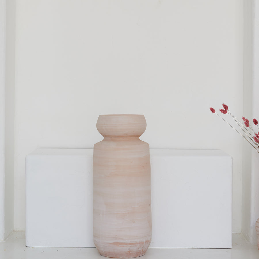 Earth Collection - Tia Floor Vase, White Washed /سيراميك