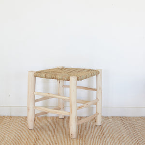 Wooden Stool With Woven Palm Seat