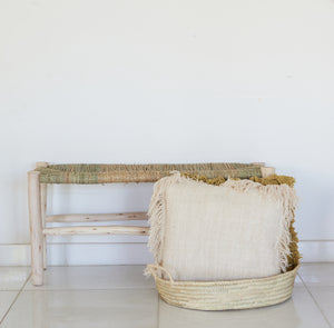 Wooden Bench With Woven Palm Seat
