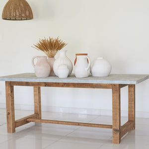 Recliamed Wooden dining Table With Galvanised Top