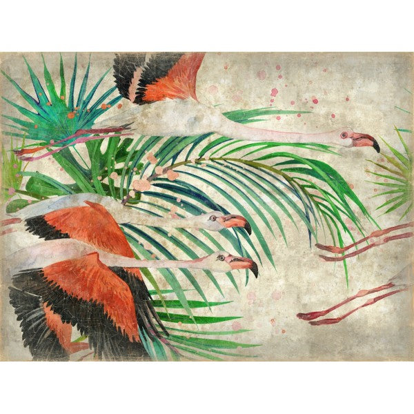 Luxe Banner Recycled Paper Print - Flying Flamingo