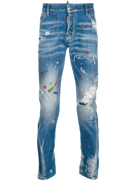DSquared2 | SS 2018 | Sexy twist paint splatter jeans