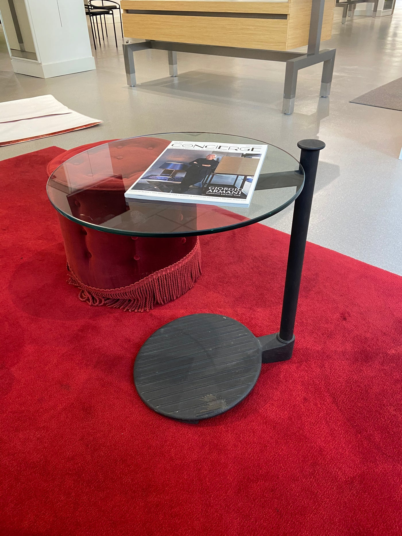 #14 > Round Glass/Metal Side Table