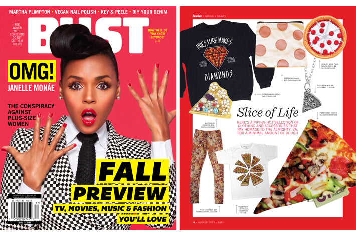 Bust Magazine Pressure Makes Diamonds Crewneck Pizza Diamonds Janelle Monae
