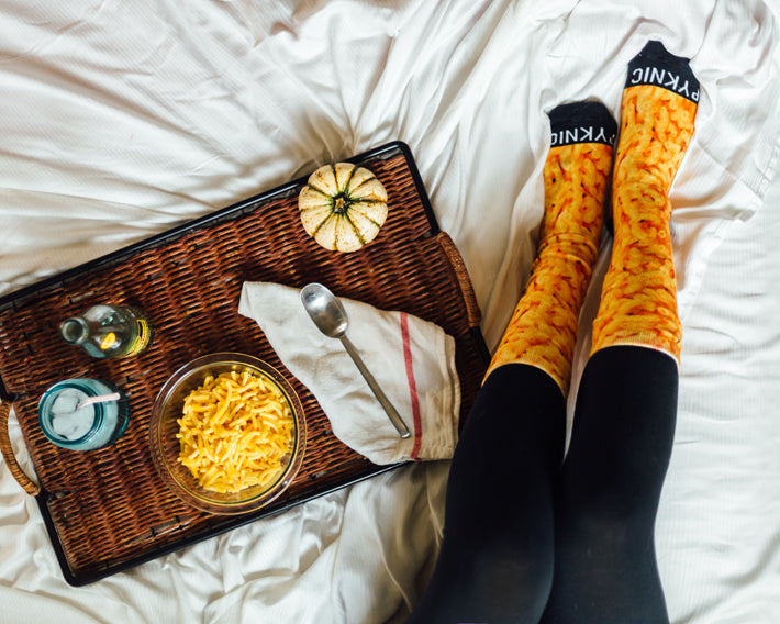 Fun Food Socks. Crazy Socks. Mac N Cheese Socks. Macaroni and Cheese Socks