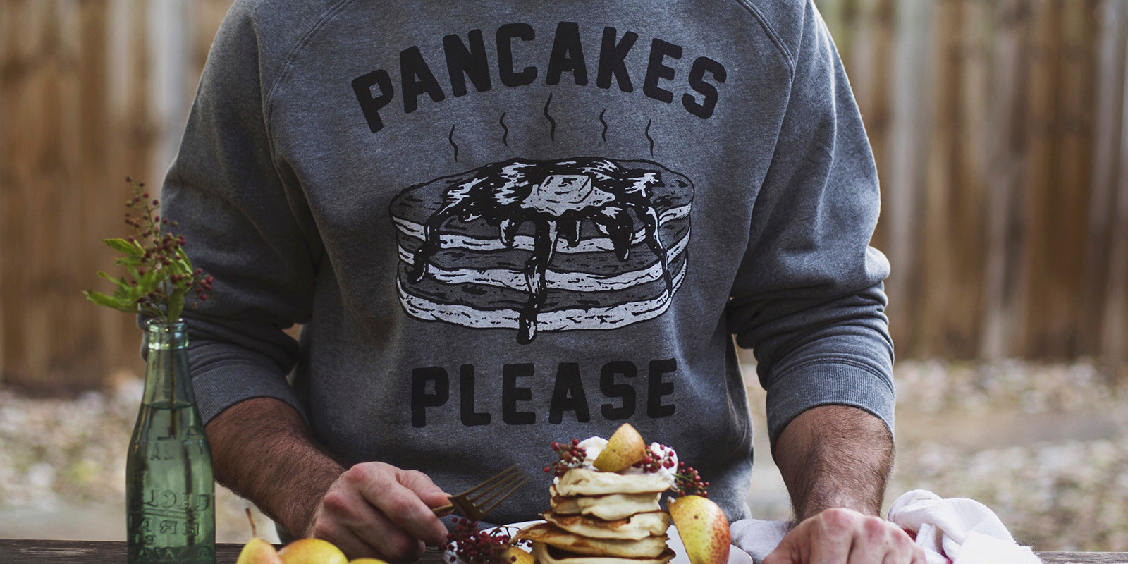 Pancakes Please Men's Vintage Raglan Crewneck Sweatshirt for Breakfast Brunch Foodie Food Lovers