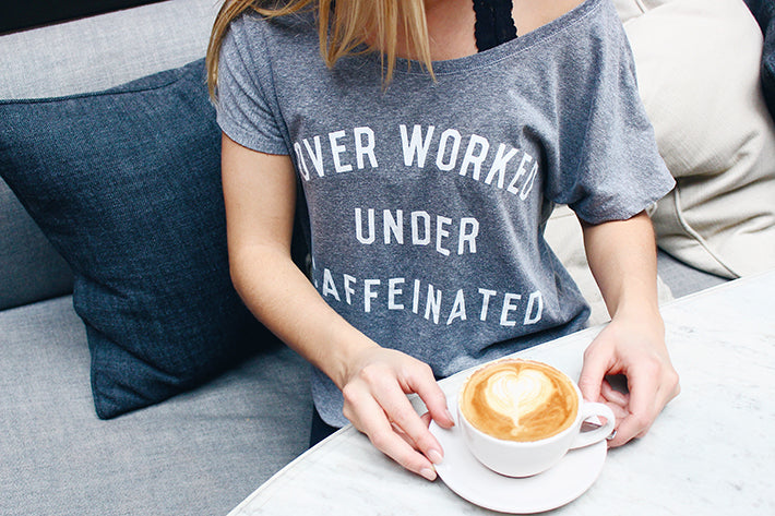 The Nom Stop Over Worked Under Caffeinated T-shirt by Pyknic Best Latte in Chicago