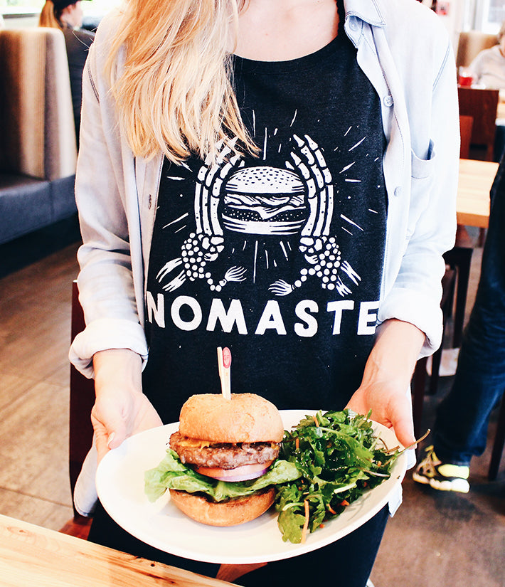 Nomaste Pyknic Nom Shirt paired up with a Lyfe Kitchen Burger