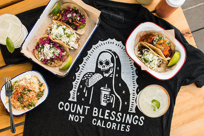 Pyknic Count Blessings Not Calories Our Lady of Guadalupe Day of the Dead Taco T-shirt