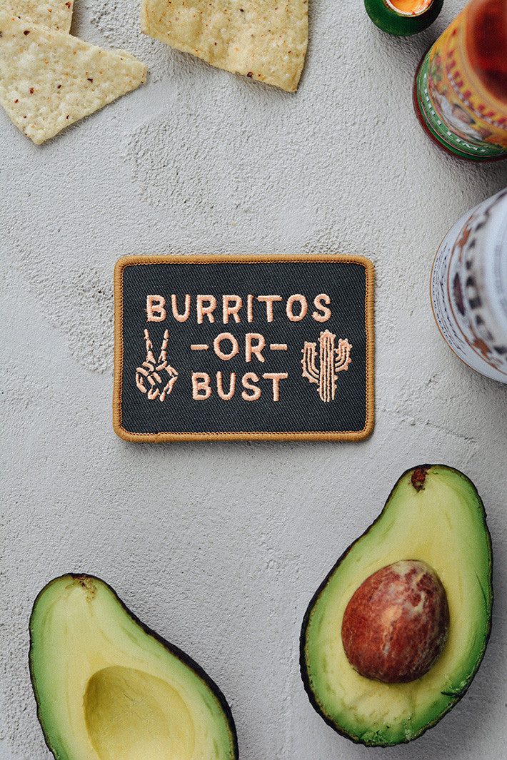 Burritos or Bust Vintage Style Patch Chipotle Foodie Meme