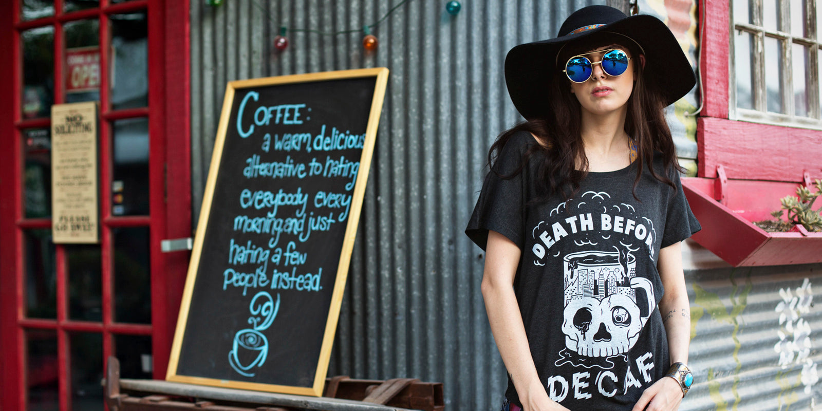 Death Before Decaf Coffee Women's Slouchy Dolman T-shirt for Barista and Coffee Lovers