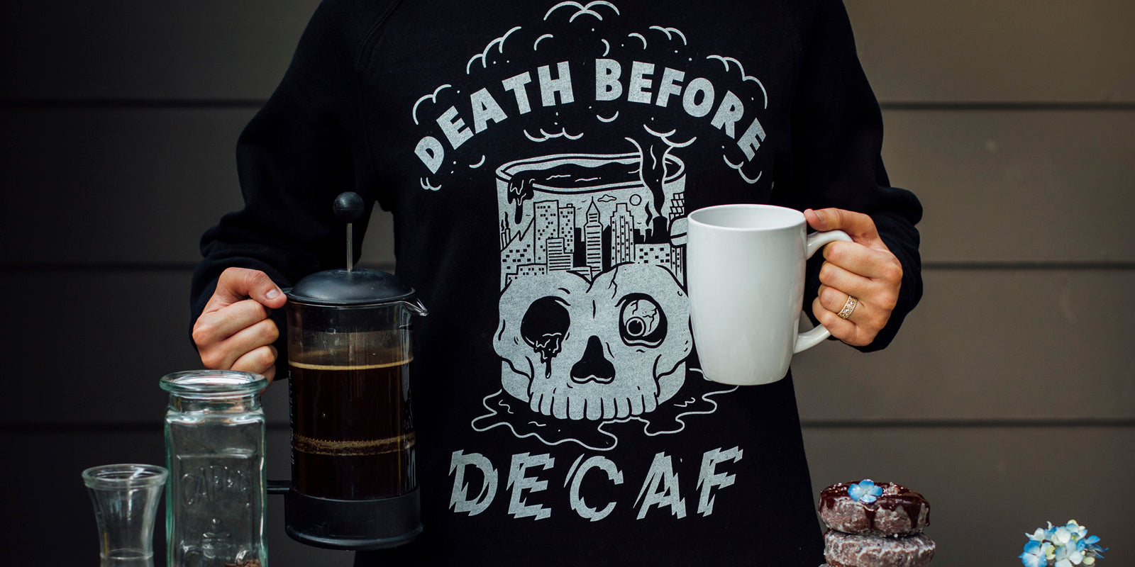 Death Before Decaf Coffee Unisex Adult Vintage-Inspired Raglan Crewneck Sweatshirt