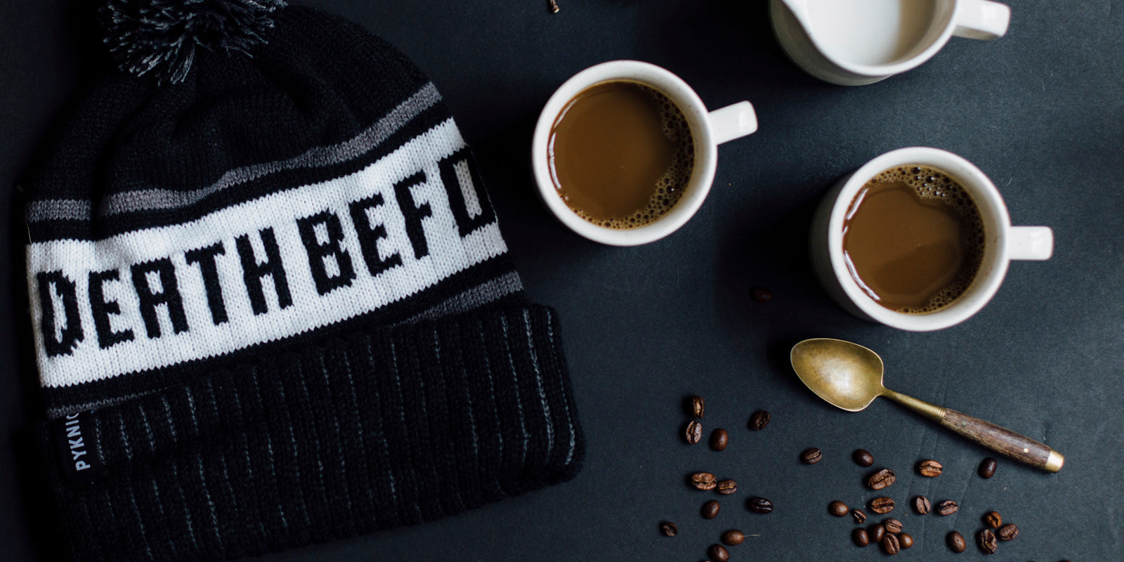 Death Before Decaf Coffee Unisex Adult Knit Beanie Hats
