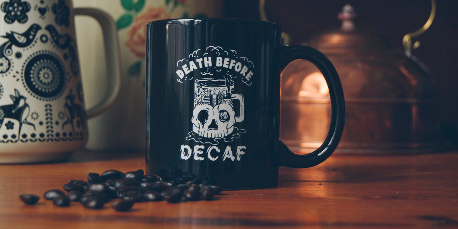 Death Before Decaf Coffee Skull Mug