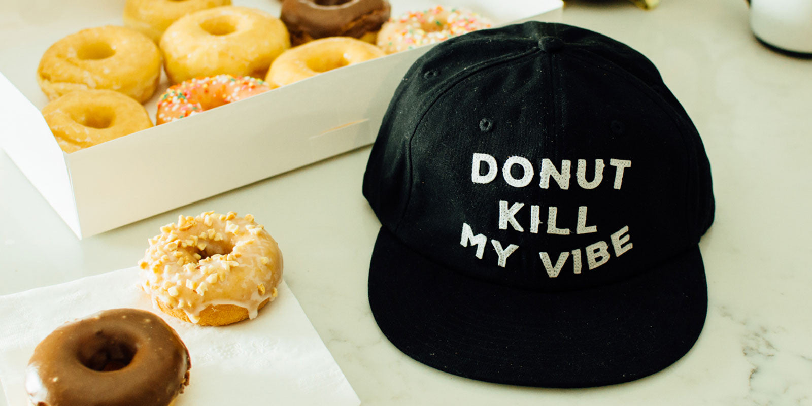 Donut Kill My Vibe Vintage Style Cotton Twill Donuts Six Panel Strapback Cap Best Food Meme Hat