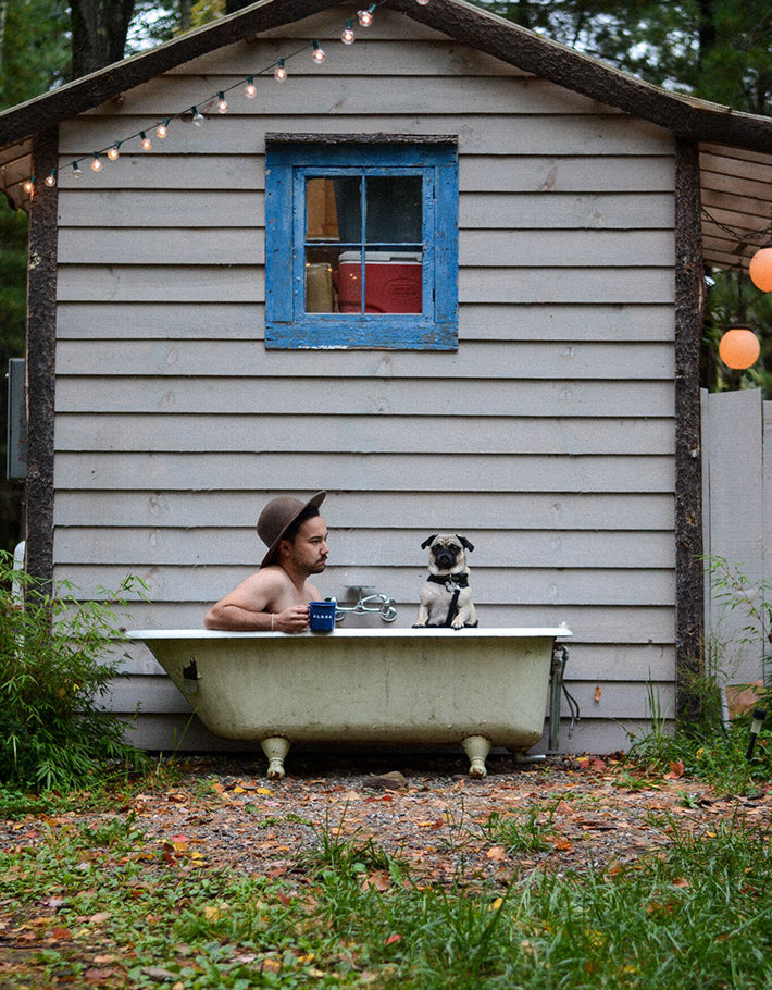 the outlier inn outdoor claw foot bath tub - glamping airbnb catskills upstate ny