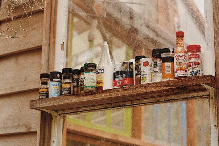 the outlier inn outdoor kitchen spices - glamping airbnb catskills upstate ny
