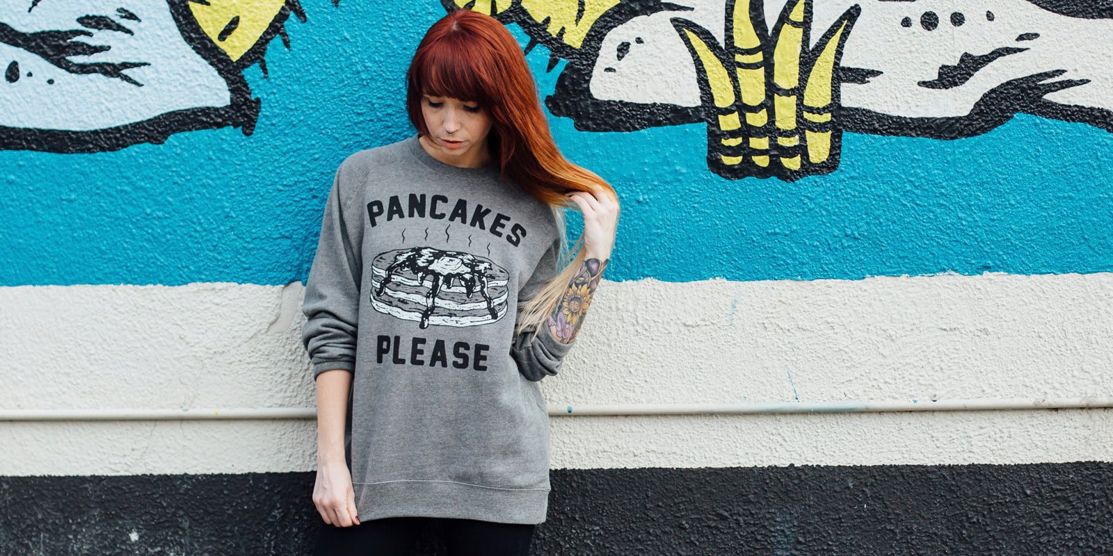 Pancakes Please Women's Vintage Raglan Crewneck Sweatshirt for Breakfast Brunch Foodie Food Lovers