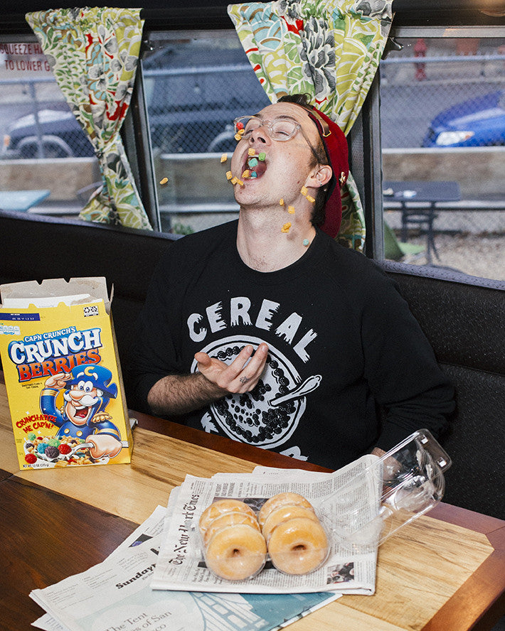 The Brothers Buoy for the Pyknic Cereal Killer Crewneck Sweatshirt with Cereal Bowl Milk Skull