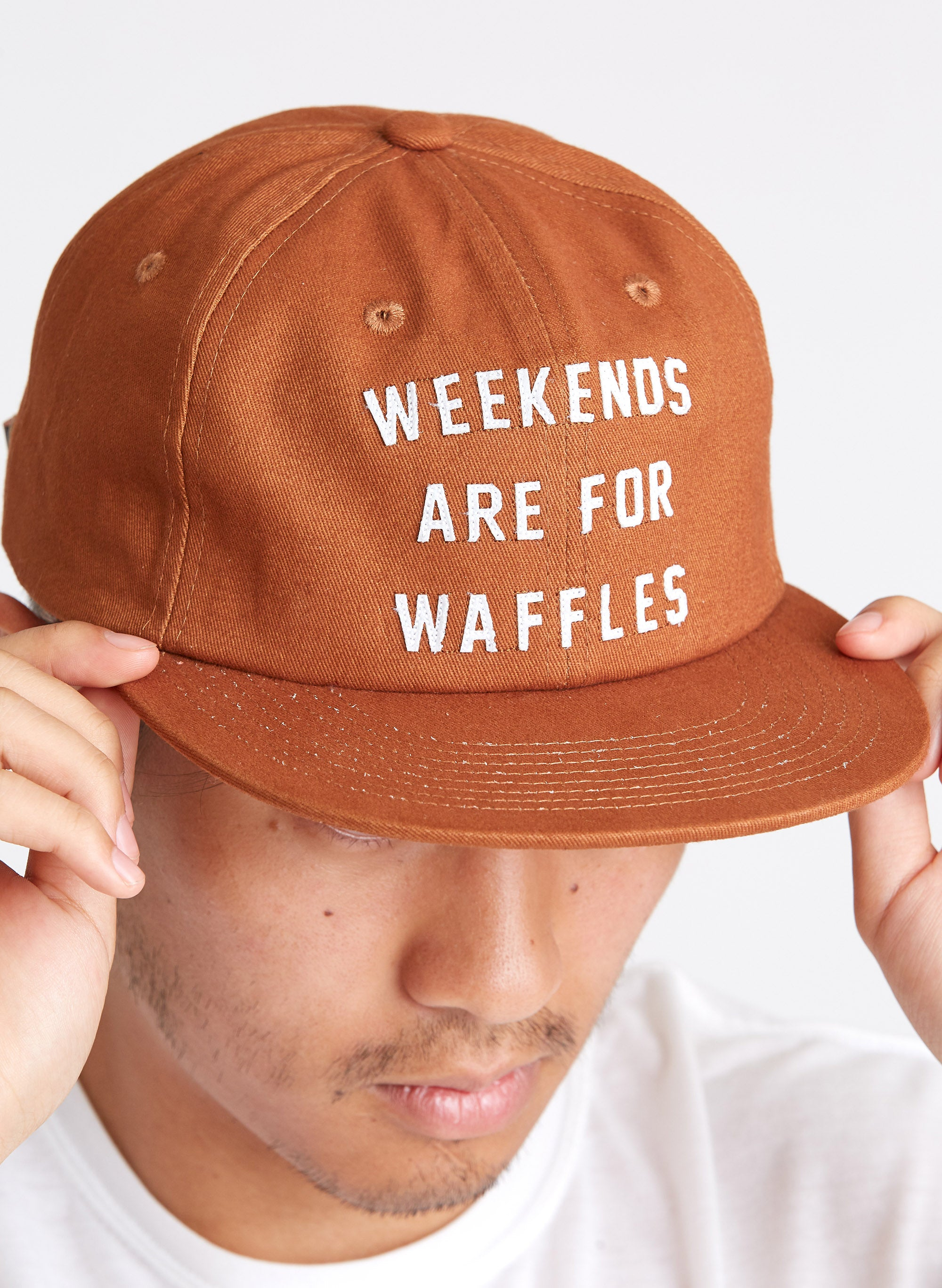 8ff3be9c09c Weekends are for Waffles Breakfast Brunch Syrup Diner Vintage Baseball  Strapback Hat