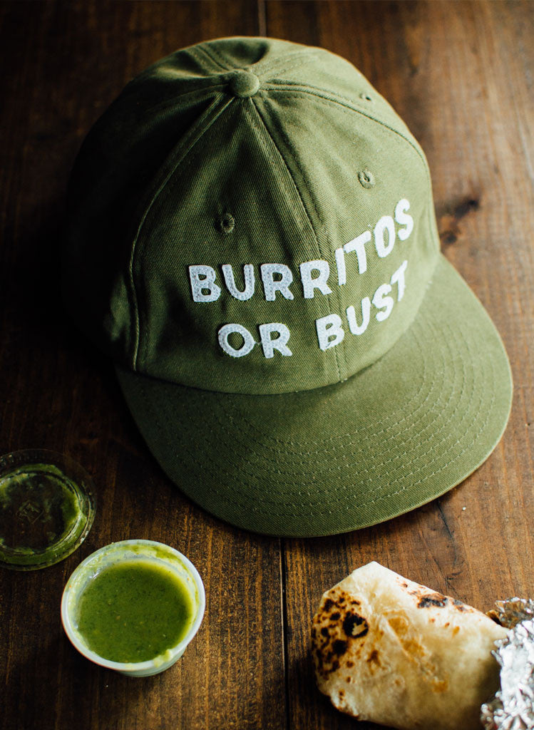 Burritos or Bust Felt Lettered Green Vintage Strapback Twill Hat Cap