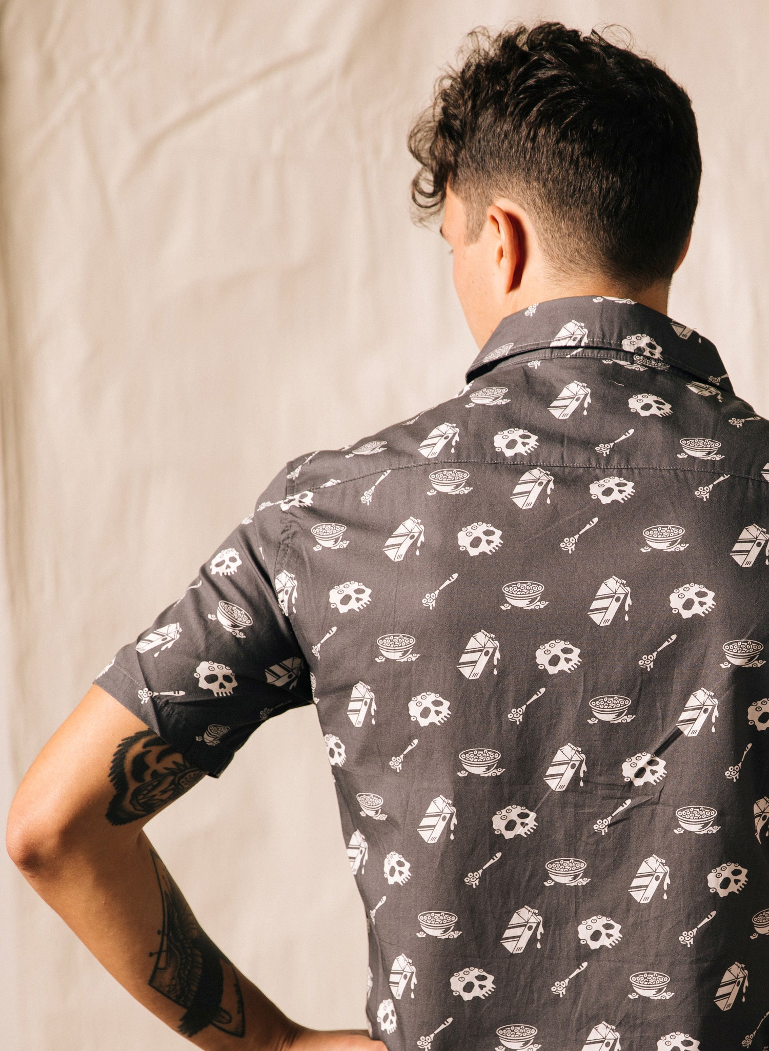Cereal Killer Mens Unique Foodie Button Up Shirt - Skull Cereal Bowl and Milk