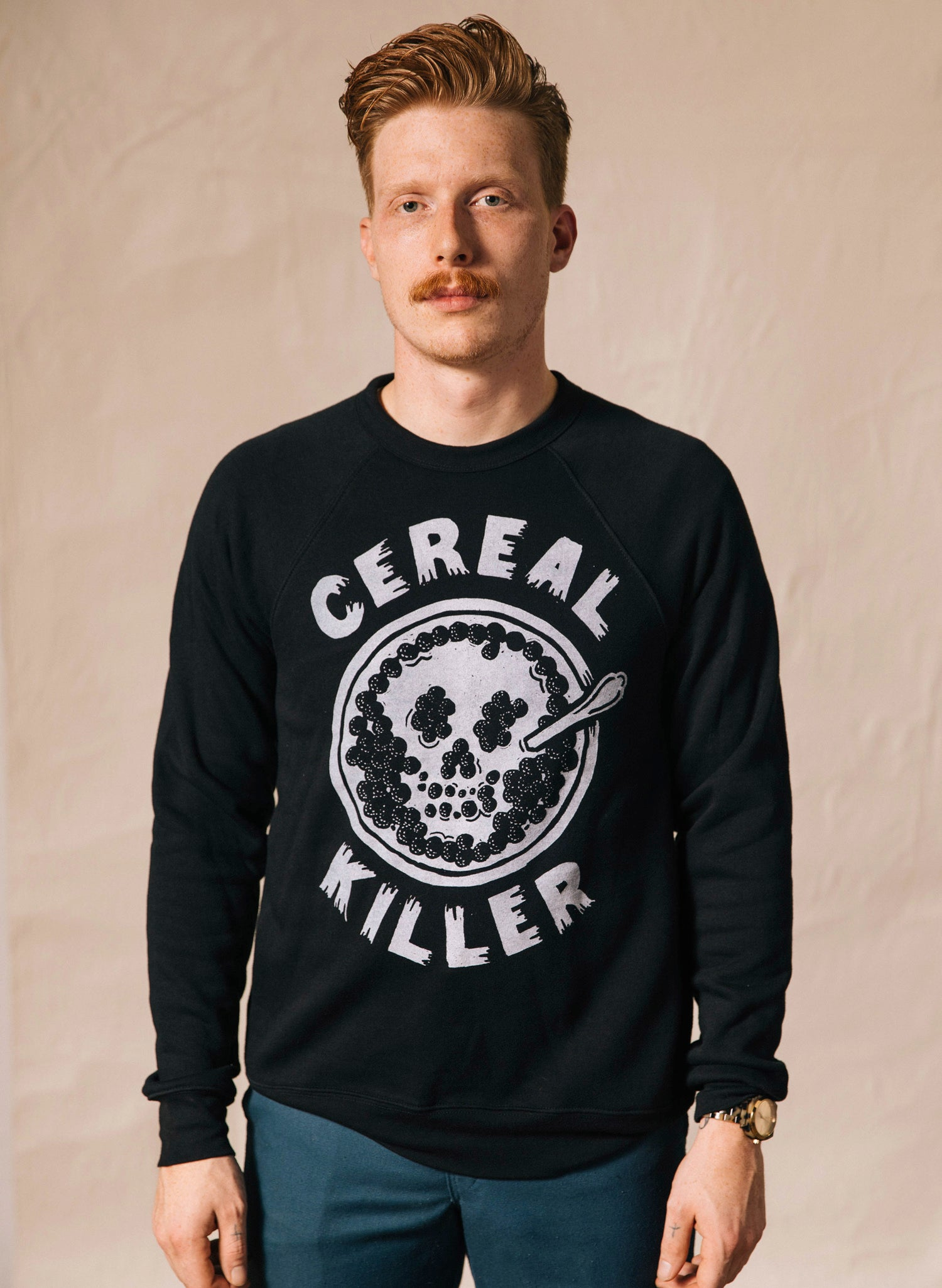 Cereal Killer Food Pun Fruit Loops Breakfast Cereal and Cartoons Skull Milk Bowl Unisex Adult Crewneck Sweatshirt