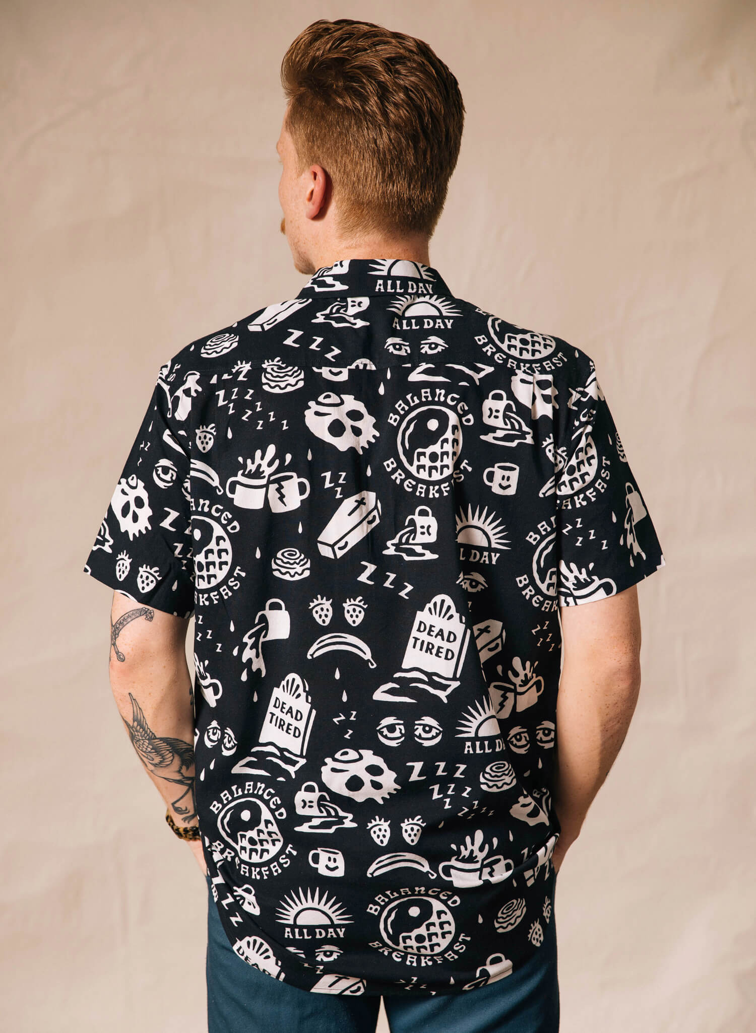 Pyknic Dead Tired Breakfast Coffee Cofin Skulls Mens Casual Buttonup Shirt Hawaiian Vacation Button Down Graphic Top