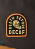 Death Before Decaf Coffee Black Skull Barista Embroidered Iron On Patch