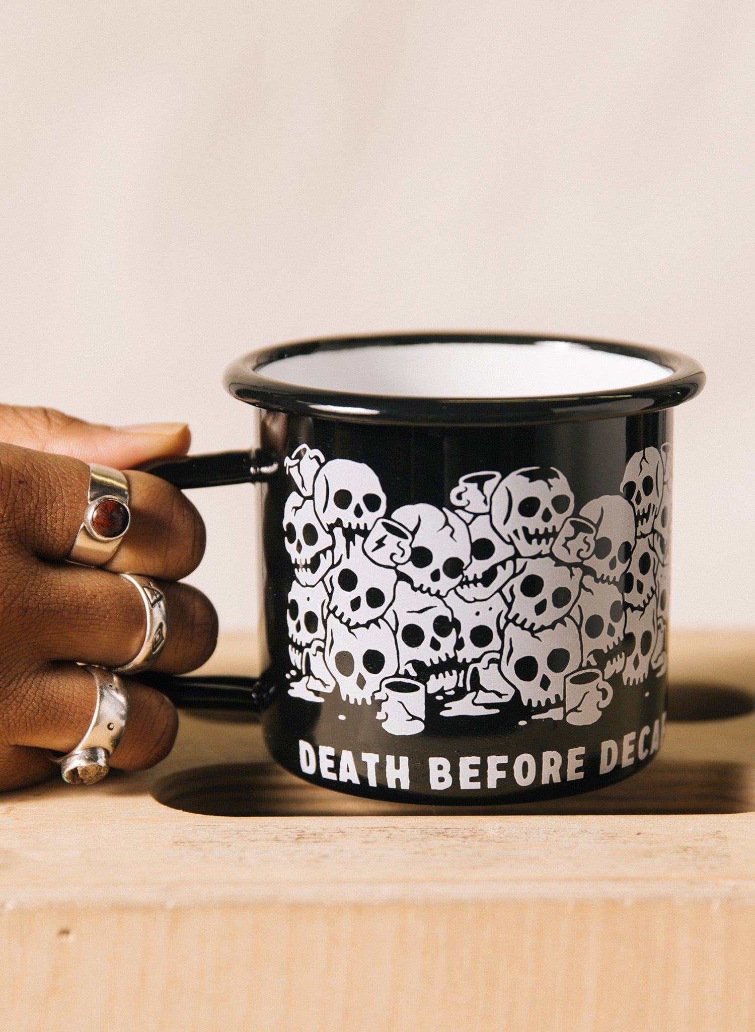 Death Before Decaf Coffee Enamel Tin Black Catacombs Skull Camping Mug