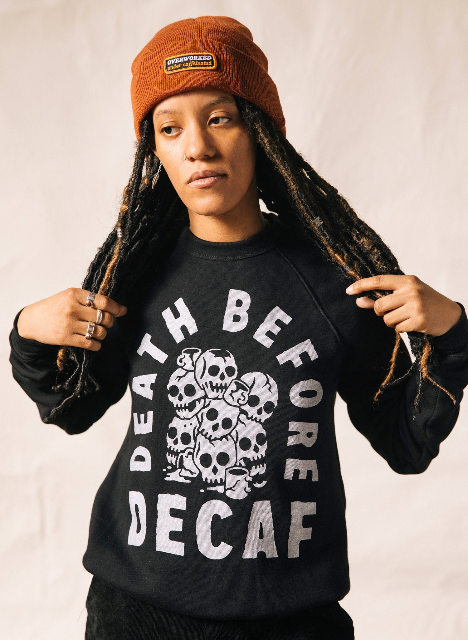 Death Before Decaf Coffee Black Pullover Crewneck Sweatshirt Skulls Catacomb Coffee Mugs