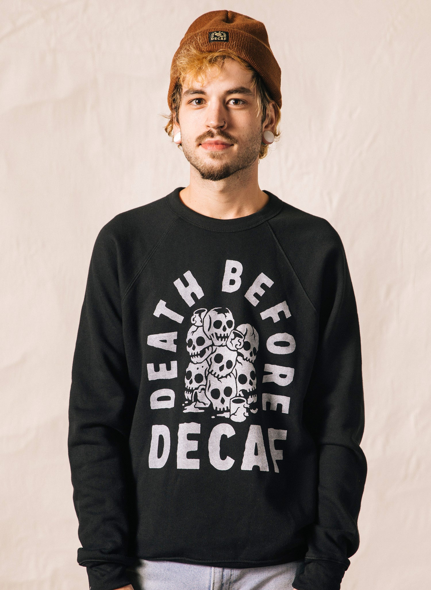 Death Before Decaf Coffee Black Pullover Crewneck Sweatshirt Skulls Catacomb Coffee Mugs Caffeine Barista