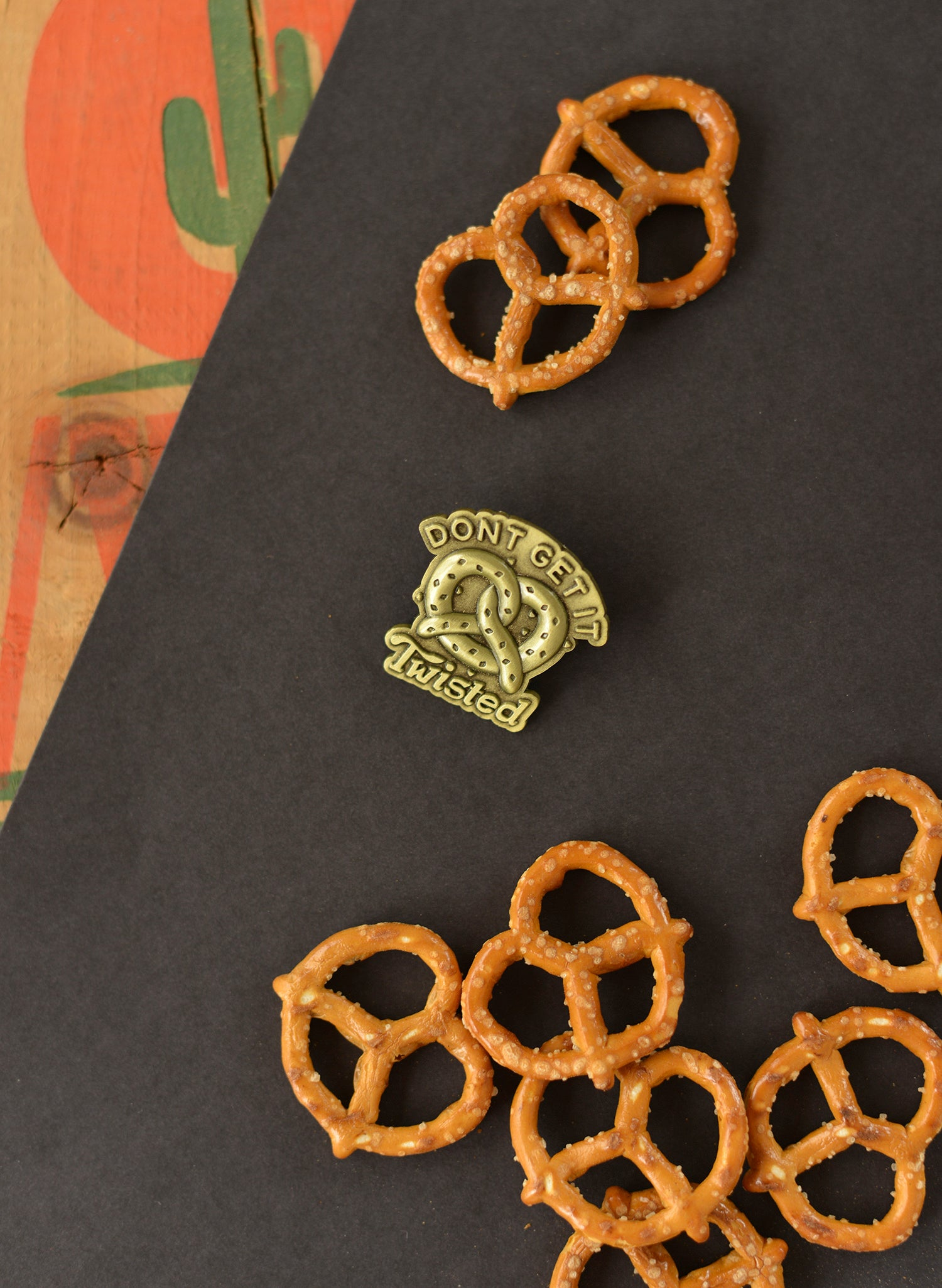 Dont Get it Twisted Soft Pretzel Philly Pretzel Foodie Food Pun Vintage Brass 3D Pin Brooch Food Jewelry Foodie Gift