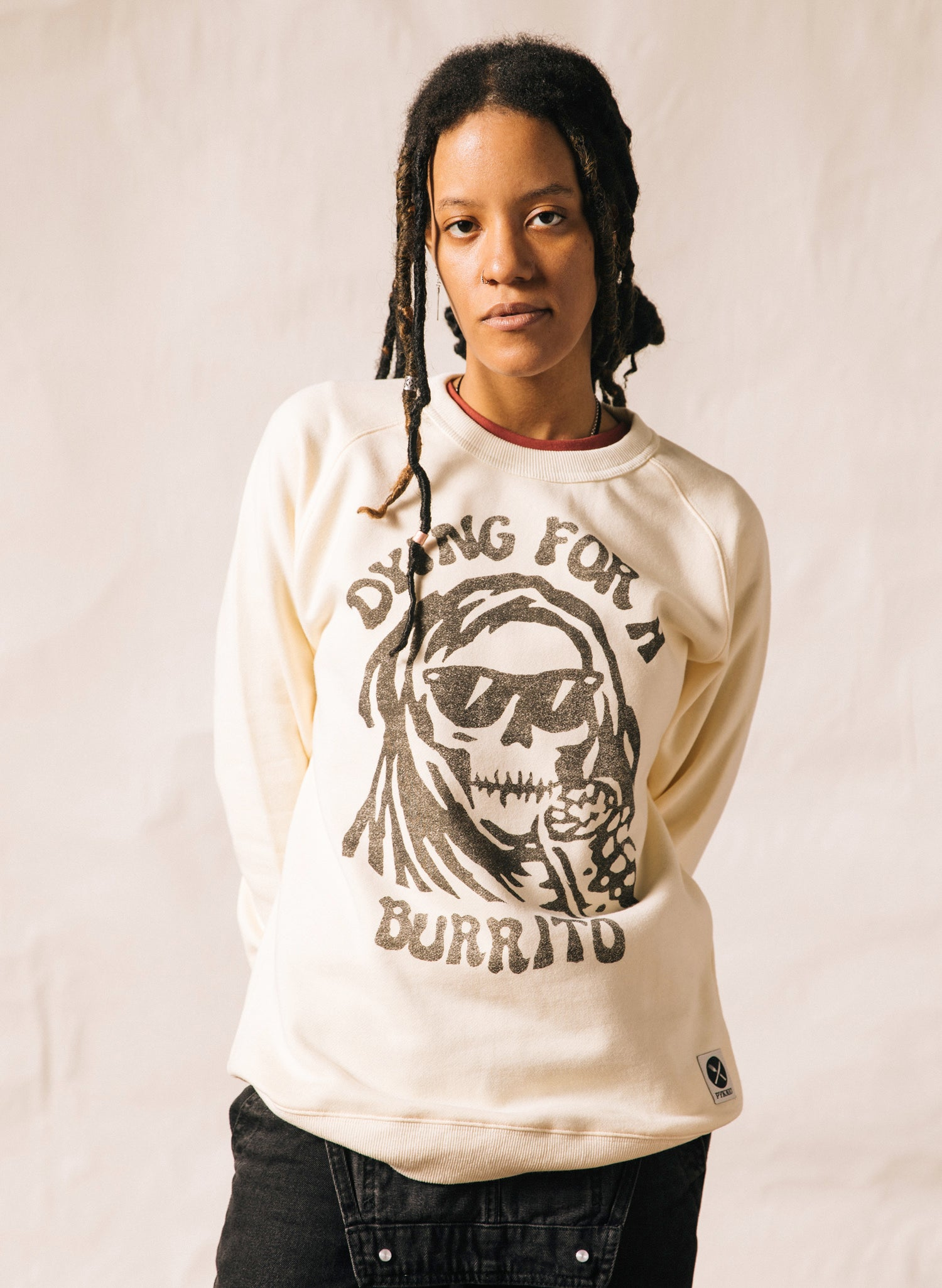 Dying for a Burrito Skull Foodie Sustainable Hemp Organic Cotton Pullover Crewneck Sweatshirt Chipotle