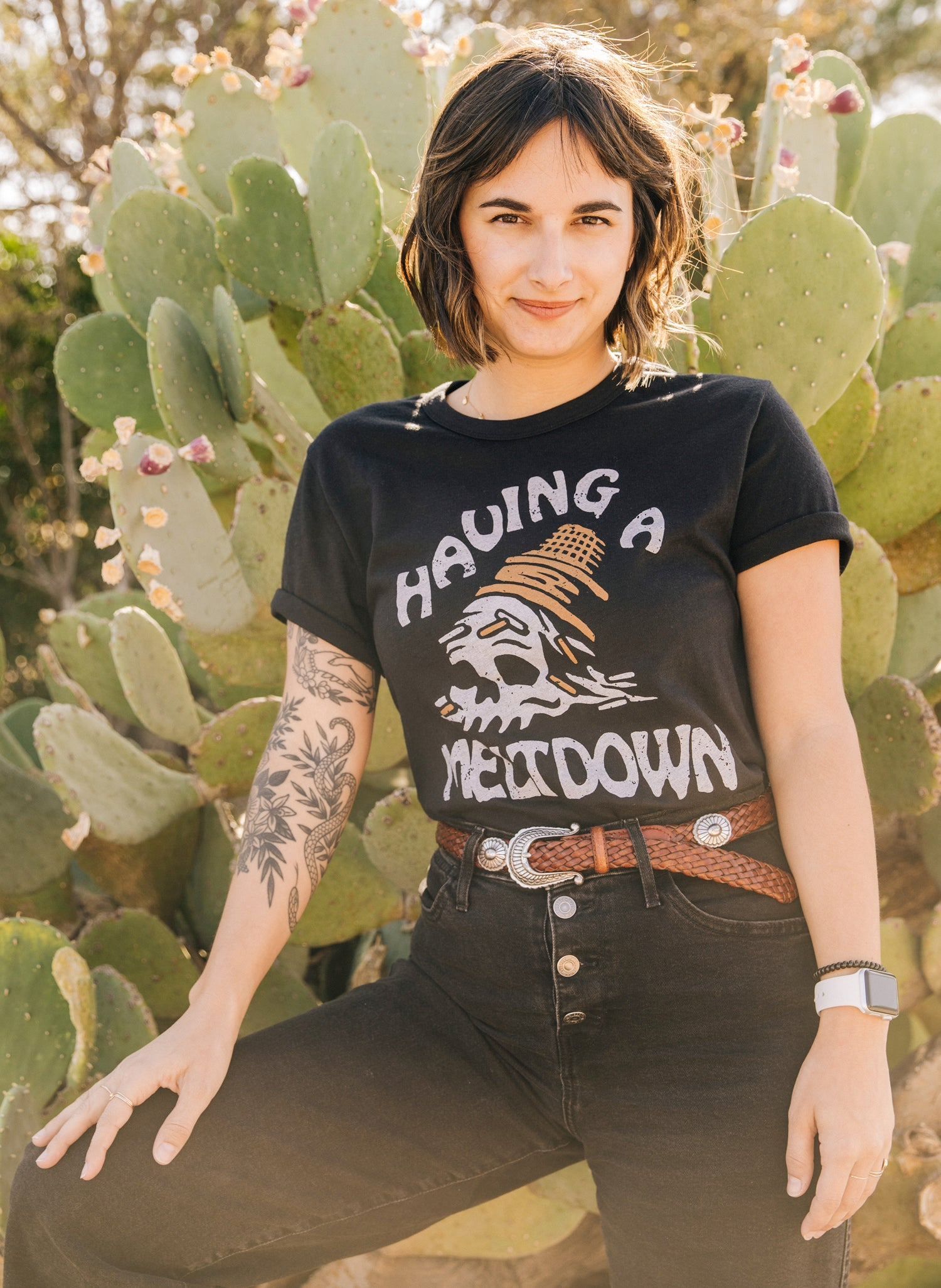Having a Meltdown Skull Ice Cream Cone Mental Health Therapy Tshirt