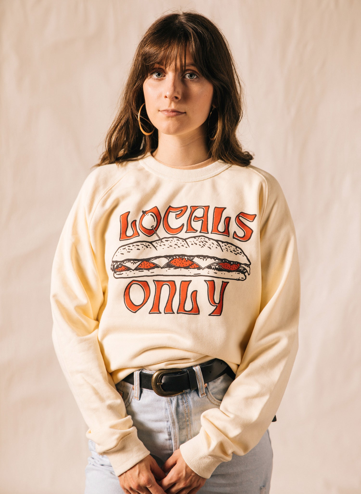 Locals Only Hoagie Sub Grinder Sandwich Hemp Food Crewneck for Foodies