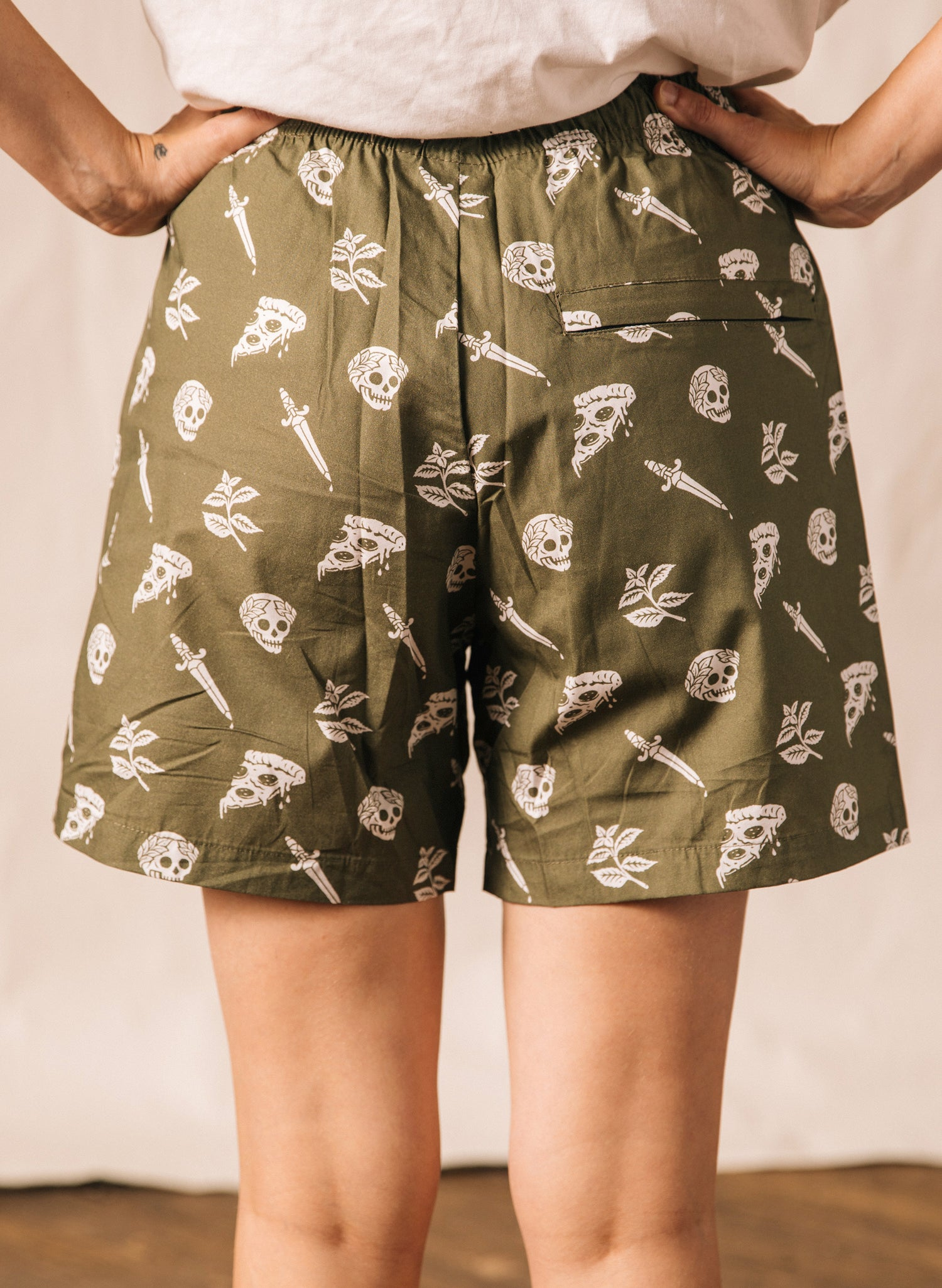 Pizza Slayer Pizza Slice Skulls Foodie Walk Shorts Food Baggies