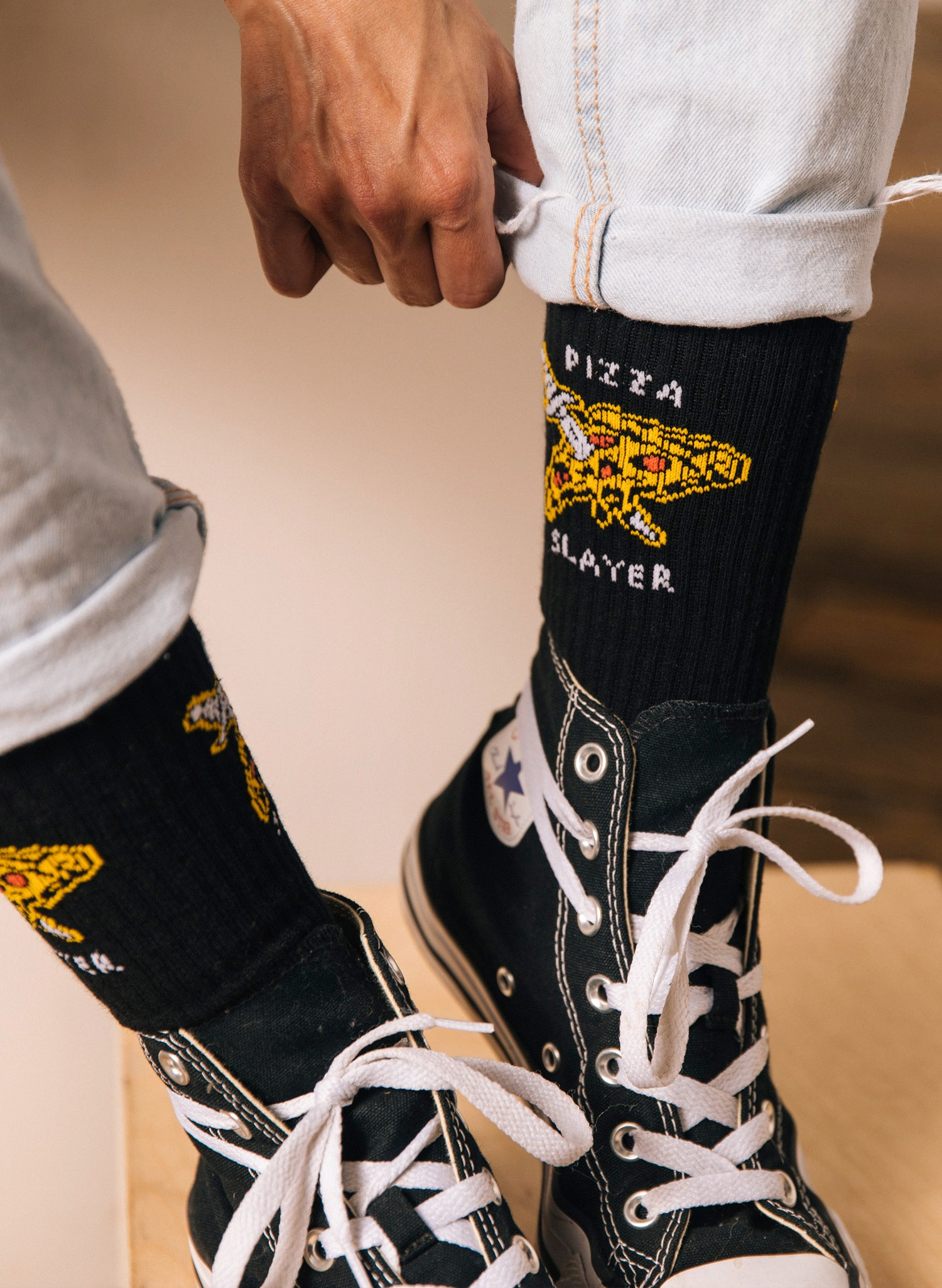 Pizza Slayer Pizzeria Slice Funny Food Foodie Socks