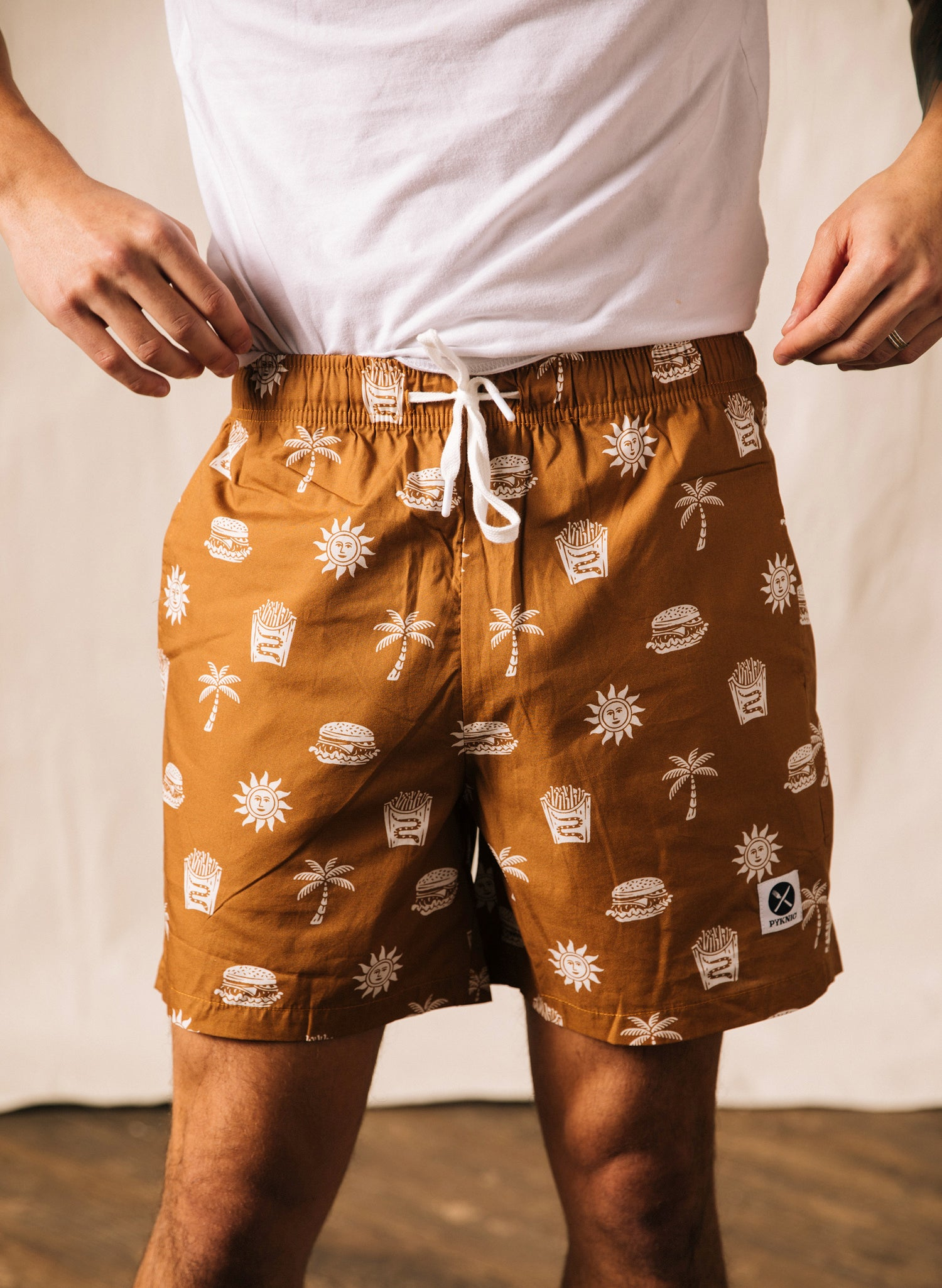 Take It Greasy In N Out Burger Paradise Cheeseburger Print California Walk Shorts