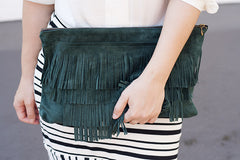 Suede fringe bag