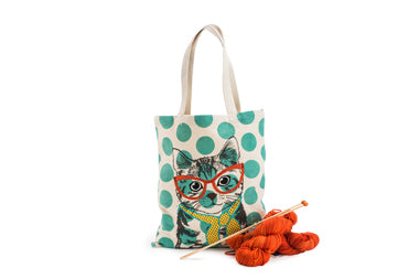 Cool Cat Canvas Tote_knitting