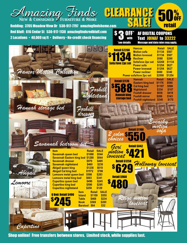 Clearance Sale NEW Furniture 50% off