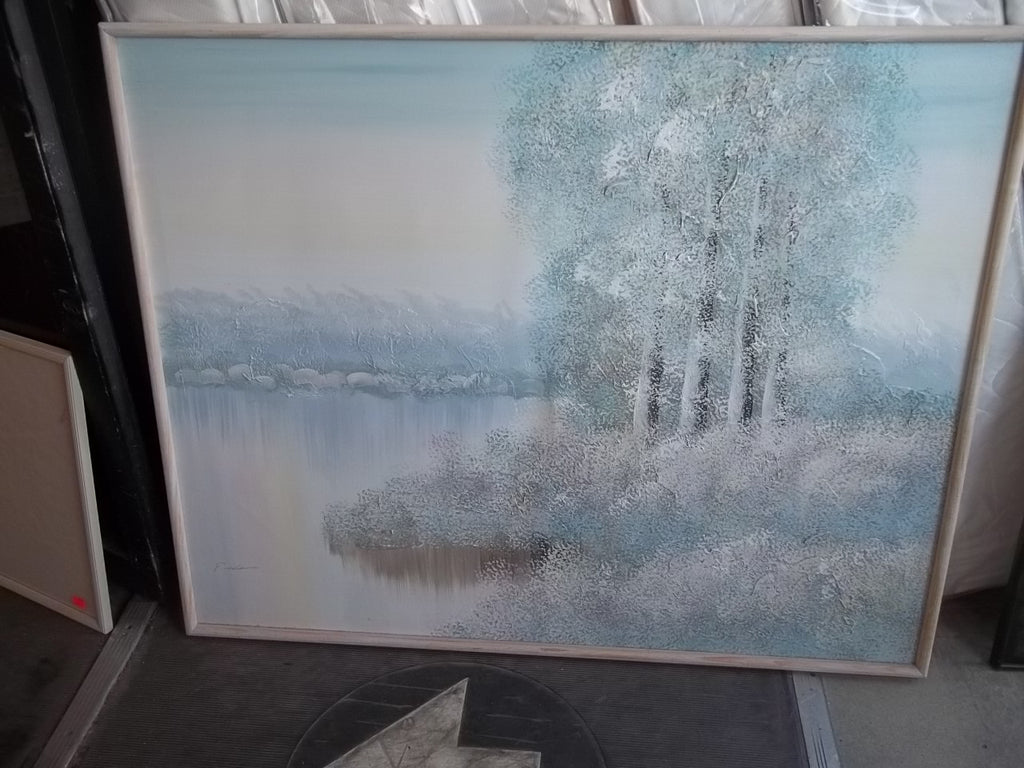 Oil painting by P. Adams, pastel lake trees 9142