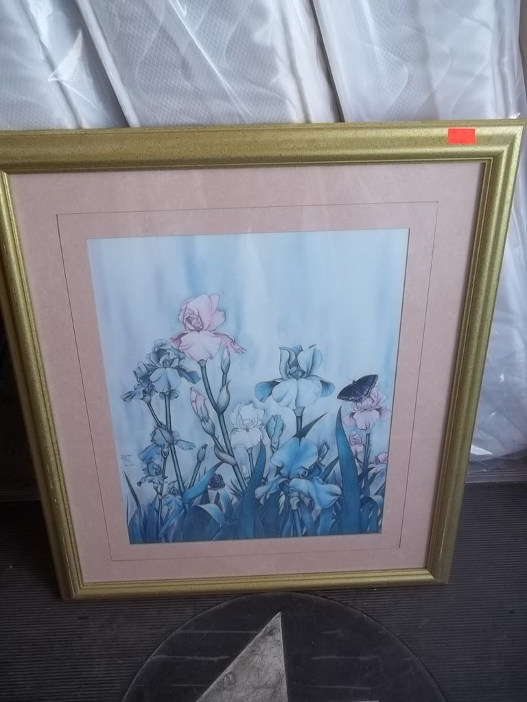 Framed picture irises pastel 9147