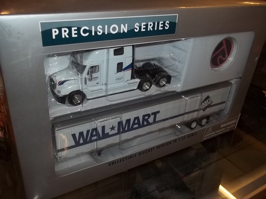 Wal-mart toy collectible semi truck tractor cab with trailer model replica in original box 10021