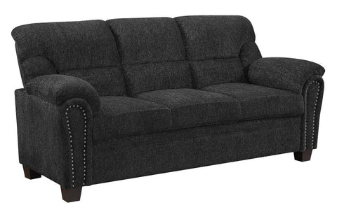 Clementine upholstered sofa with nailhead trim graphite NEW CO-506574